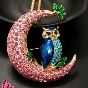 Betsey Johnson Pink  Moon Owl Necklace/Brooch -NWT